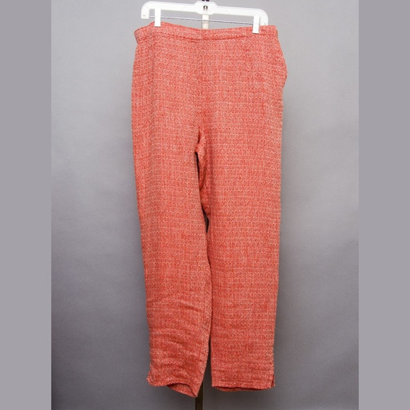 Flax Pants - Flax linen pants orange red gray NWOT lagenlook